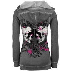 Love Heart skulls hoodie