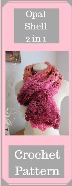 Opal Shell 2 in 1 Crochet Wrap and Scarf from Crochet247: FREE pattern