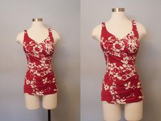 1960s Roxanne Red Floral Bathing Suit / Vintage Swimsuit /