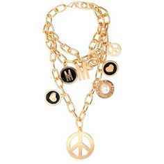 MOSCHINO Symbol Pendants Gold Pleated Necklace - Gold