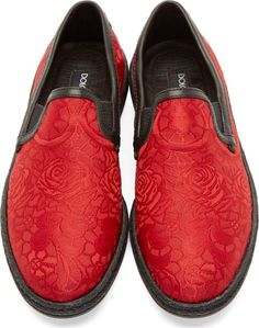 Dolce & Gabbana Red Brocade Slip-On Loafers