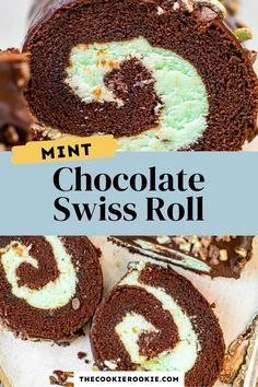 This mint chocolate Swiss Roll is a rich, chocolatey dessert that is easier to make than you think! Filled with a creme de menthe filling and finished with a rich chocolate glaze for a delicious baked dessert that the whole family will love! #swissroll #chocolate #dessert #cake #mintchocolate Chocolate Swiss Roll, Chocolate Roll Cake, Chocolate Glaze, Chocolate Treats, Chocolate Lovers, Mint Chocolate, Swiss Roll Cakes, Mint Recipes, Peppermint Cookies