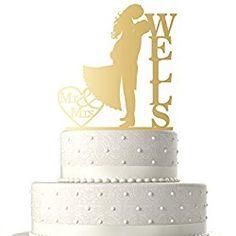 Sugar Yeti Made In USA Personalized Wedding Cake Topper Love Groom Kissing Bride Gold Mirror Personalized Wedding Cake Toppers, Wedding Cakes, Groom, Make It Yourself, Bride, Kissing, Wedding Ideas, Sugar, Mirror