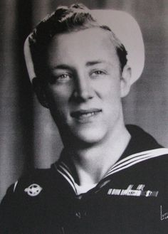 """Seaman John Wilson of Harbor Isles mobile home park in North Port, Fla. was 19 years old when this picture of him was taken. Note the five battle stars on his campaign ribbons signifying five major engagements aboard the destroyer USS Isherwood, DD-520, in the Pacific during World War II and the """"Ruptured Duck"""" insignia on his other shoulder signifying he had been discharged from the service. (Photo provided by John Wilson.)"""