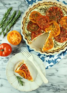 Savory Goat Cheese Tart with Roasted Heirloom Tomatoes