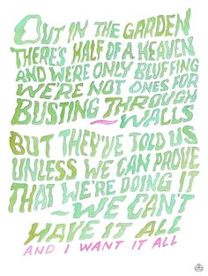"""Hand-lettered lyrics by David Birkey. #11 From""""Suspended in Gaffa"""" by Kate Bush, 1982."""