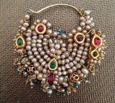 """Antique Indian Pearl Gold Nath nose ring from an article """"Discovering Pearls"""" Nath Nose Ring, Nose Ring Jewelry, Gold Nose Rings, Head Jewelry, Gold Ring, Jewelry Art, Jewelry Bracelets, Silver Rings, India Jewelry"""