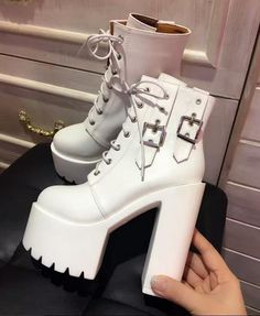 Womens Lace Up Buckle Platform High Chunky Ankle Boots Motor Shoes Punk 1688 Punk Shoes, Vintage Shoes, Goth, Ankle Boots, Platform, Lace Up, Motorcycle, Heels, Sneakers