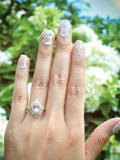 """WITH """"I SAID YES"""" MANICURE Handmade Engagement Rings, Designer Engagement Rings, Wedding Couples, Wedding Photos, Beautiful Wedding Rings, Wedding Trends, Hand Henna, Ring Designs, Bridal Jewelry"""