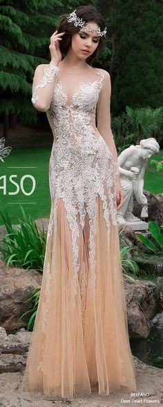 Bridal Long Sleeves Dress Lace Elegant Sexy Fit and Flare Wedding Dress Low Back Berkley 2