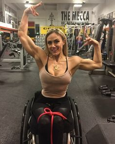 Tiphany Adams despite being disabled and in a wheelchair since 2000 has been training hard for over 10 years. Respect.