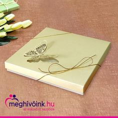 Special box invitation with butterfly that folds out on the lid and a bow tied with gold twine. The text is placed on the accordion-like folded insert. Dimensions: 145 × 145 mm  #eskuvoimeghivokeszites #esküvő #eskuvo #esküvőimeghívó #eskuvoimeghivo #wedding #menyasszonyvagyok #menyasszonylettem #esküvőnk #esküvő2020 #eskuvo2020 #nagynap #ferjhezmegyek #meghivo #meghívók #weddingcard #weddingcards #menyasszony #menyasszonyiruha Box Invitations, Twine, Wedding Cards, Butterfly, Bows, Wedding Ecards, Arches, Bowties, Butterflies