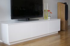 Materials: Faktum/Akurum kitchen cabinets, 16mm MDF, 8 8mm bolts and nuts and the Kreg joinery system.  Description: I wanted a minimalistic media unit with