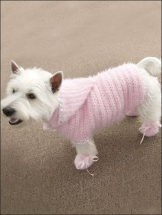 Dreamy Sweater Set - Technique - Crochet - Stitch your favorite gal a super-comfy hooded sweater and matching booties - Fits dogs sizes: X-small, small, medium and large. Made with medium (worsted) weight yarn and sizes G (4mm) and I (5.5mm) hooks - Skill Level: Easy - Download Size: 4 page(s)