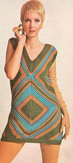 Vintage 1960s Mini Square Mini Dress Crochet Pattern PDF 6701.