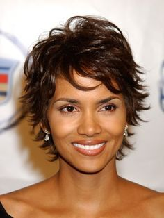 Halle Berry's flirty, flippy 'do:  50 Best Short Hairstyles for Black Women | herinterest.com