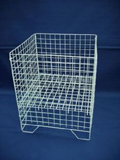 £24.99 + £8.49 UK delivery White Square Dump Bin Wire Basket Shop Display Shopfittings & Retail LARGE