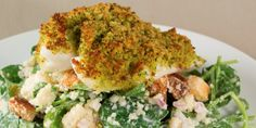 Baked fish with a parsley crust and couscous salad