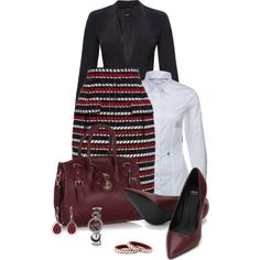 Office outfit: Maroon - Black - White by downtownblues on Polyvore featuring Oscar de la Renta
