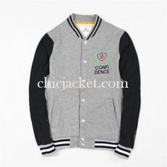 Mens Baseball Letter B Grey Green Jacket 2015