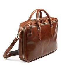 Allen Edmonds Strand Slim Briefcase 98190A Walnut Leather