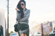 3.1 Phillip Lim sweater, Wasteland skirt, Equipment blouse, Isabel Marant sneakers, Proenza Schouler PS11, Karen Walker sunglasses, Vanessa Mooney necklace