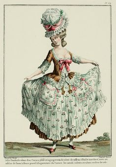 Galerie des Modes, 17e Cahier, 6e Figure  Pretty Dancer dressed in a pleated Caraco with a low-cut gorgerette of bronze Italian taffeta, with a flowered linen apron matching the trim of the Caraco; the bows and ribbons are pink. (1779)