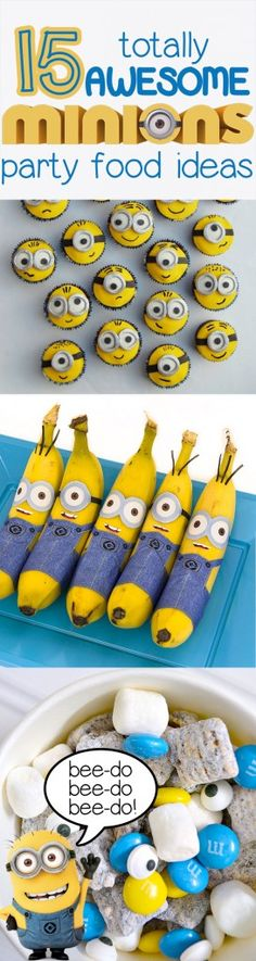 Minions cupcakes, minions bananas, minions munch snack mix, and even an easy minions cake out of a sheet cake! It& minion mania! Minion Party Food, Minion Theme, Despicable Me Party, Minion Birthday, 4th Birthday Parties, Birthday Fun, Birthday Ideas, Birthday Cakes, Minion Cupcakes