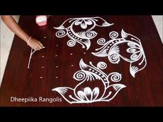 Easy Rangoli Design For Beginners Simple Rangoli Designs Images, Rangoli Designs Latest, Rangoli Designs Flower, Rangoli Border Designs, Small Rangoli Design, Rangoli Patterns, Rangoli Designs Diwali, Rangoli Designs With Dots, Flower Rangoli