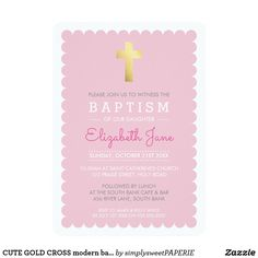 CUTE GOLD CROSS modern baptism scalloped edge pink #zazzle #shopping #zazzlemade #zazzleproducts #baptisminvites #christeninginvites #baptisminvitation #cuteinvites #moderninvites #celebrategod #printedinvitation #invites #invitations