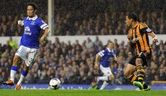 19 October 2013 Steven Pienaar scores Everton's second, and the winning goal of the game, as he sweeps in a cross from Kevin Mirallas to score with his first touch of the game, having come on as a substitute.