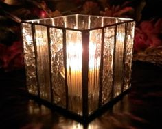 Stained Glass Votive Candle Holder 3 inches by GlassyNFabulous