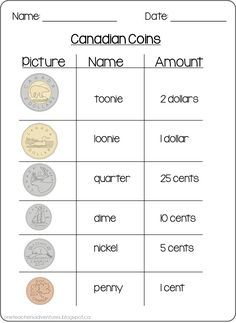 FREE Canadian Coins Counting Money Sheets