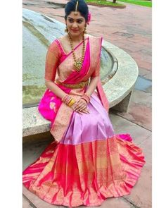Want to check out best pink wedding saree designs? Here are sarees that you can take as inspirations. Lehenga Designs, Half Saree Designs, Silk Saree Blouse Designs, Bridal Blouse Designs, Lengha Design, South Indian Wedding Saree, South Indian Sarees, Indian Silk Sarees, South Indian Bride