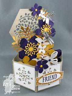 Colour INKspiration, #addinktivedesigns 3D, Hexagonal Base Pop-Up Card, Botanical Builders Framelits, Stamping' Up!, Bronwyn Eastley