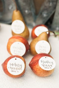 Fruit placecards: http://www.stylemepretty.com/oregon-weddings/hillsboro/2015/07/07/rustic-romantic-farm-to-table-wedding-inspiration/ | Photography: Christa Taylor - http://www.christataylorphotography.com/