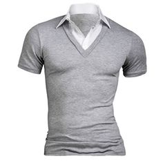 Buy Men's Summer Polo Shirt Short Sleeve Turndown Collar Cotton Blend Slim Fit Top + Free Shipping