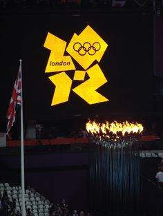 Saturday 11th August. Olympic Park. The Cauldron and Union Jack
