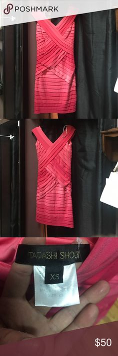Tadashi Shoji pink ombré bandage bodycon dress Tadashi Shoji pink ombré bandage bodycon dress. EUC. Like new condition! No flaws. Very thick and soft, comfy material. Extremely well made and unique! Tadashi Shoji Dresses