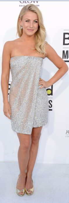 Who made Julianne Hough's white strapless dress and gold pumps that she wore in Las Vegas on May 20, 2012?