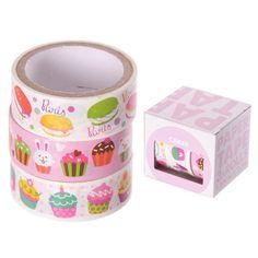 CupCake Design Klebeband 3 Rollen pro Packung - Cupcake - Muffin - 2,5m