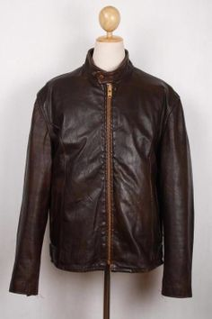 Vintage 70s LESCO Leather Motorcycle Jacket CAFE RACER L/XL FLEECE LINING