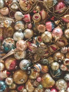 vintage ornaments: Glass, indents, mercury glass, shiny brites