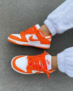 Dr Shoes, Cute Nike Shoes, Tennis Shoes Outfit, Swag Shoes, Cute Sneakers, Nike Air Shoes, Hype Shoes, Shoes Sneakers, Orange Nike Shoes