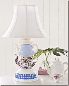 Lamp from Old Teapots