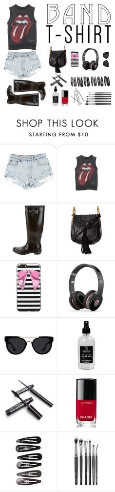 """""""Sin título #994"""" by just-lala ❤ liked on Polyvore featuring Comme des Garçons, Hunter, Chloé, Harrods, Beats by Dr. Dre, Quay, Little Barn Apothecary, Chanel, Clips and bandtshirt"""
