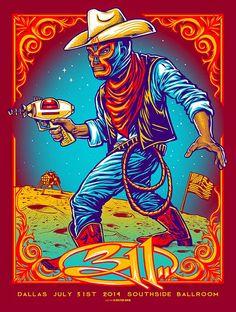 311 Munk One Houston & Dallas Posters World Premiere Exclusive Rock Posters, Band Posters, Concert Posters, Music Posters, Dallas Show, Psychedelic Rock, Alternative Art, Vintage Rock, Geek Art