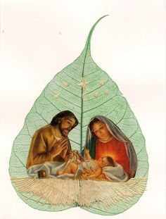 Unique art for your Christmas celebrations...  No 2 leaf or leaf art alike  Handmade nativity scene by museumshop, $6.99