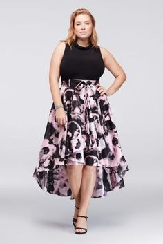 This plus-size dress lets you skip the necklace, since its high neckline is embellished with rows of beading. Finished with a printed, high-low mikado skirt, it's a look that's ready to party.  By SL Fashions  Polyester, spandex  Back zipper  Dry clean  Imported