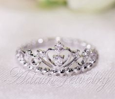 Fancy Crown Ring 14k White Gold & Diamonds Wedding Ring/ Promise Ring/ Diamonds Ring/  Engagement Ring/ Anniversary Ring/ Wedding Band by AdamJewelry on Etsy https://www.etsy.com/listing/184120600/fancy-crown-ring-14k-white-gold-diamonds
